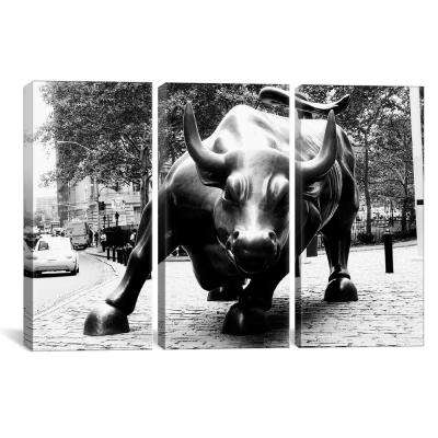 Wall Street Bull Black & White by Unknown Artist Canvas Wall Art