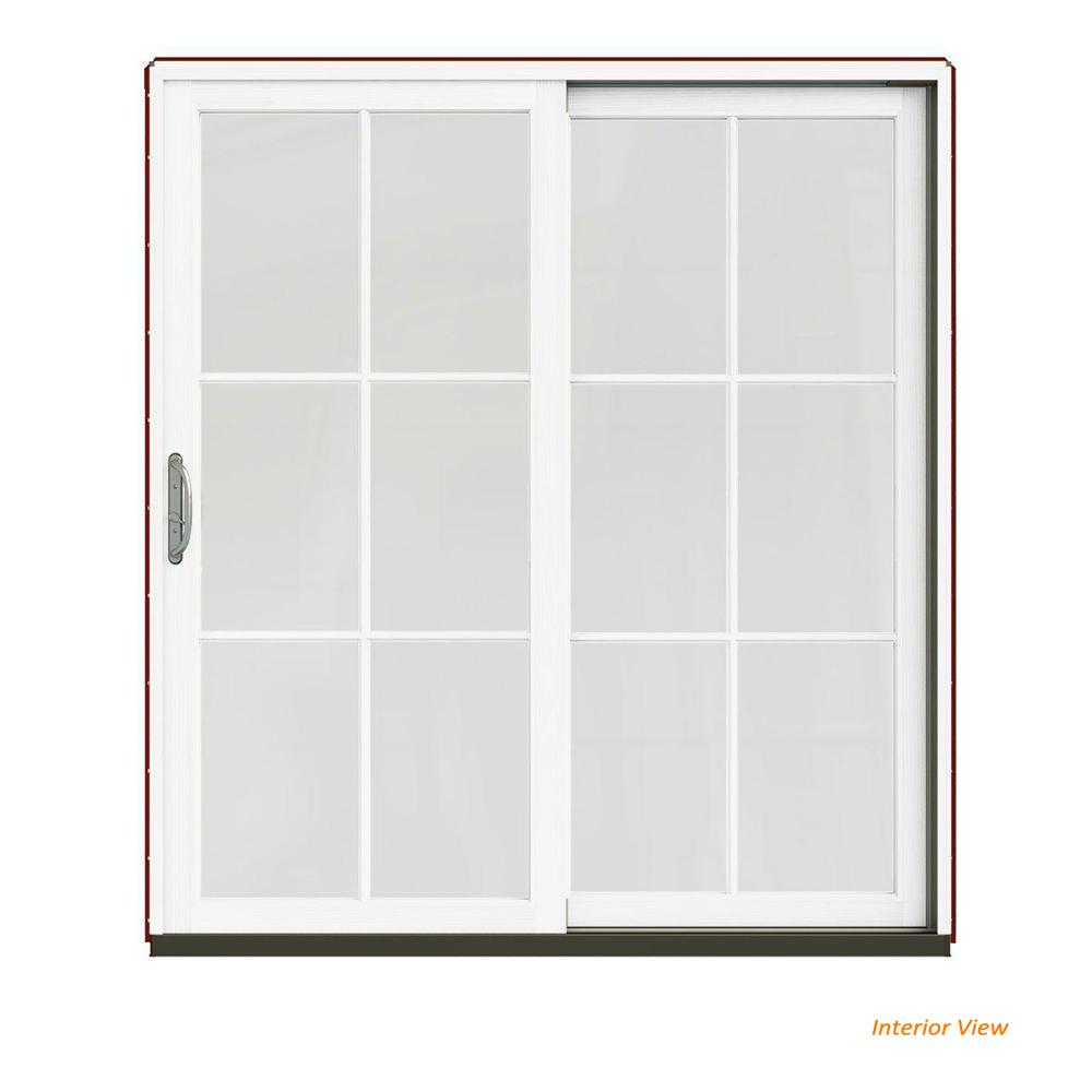 jeld wen 72 in x 80 in w 2500 contemporary red clad wood left hand rh homedepot com