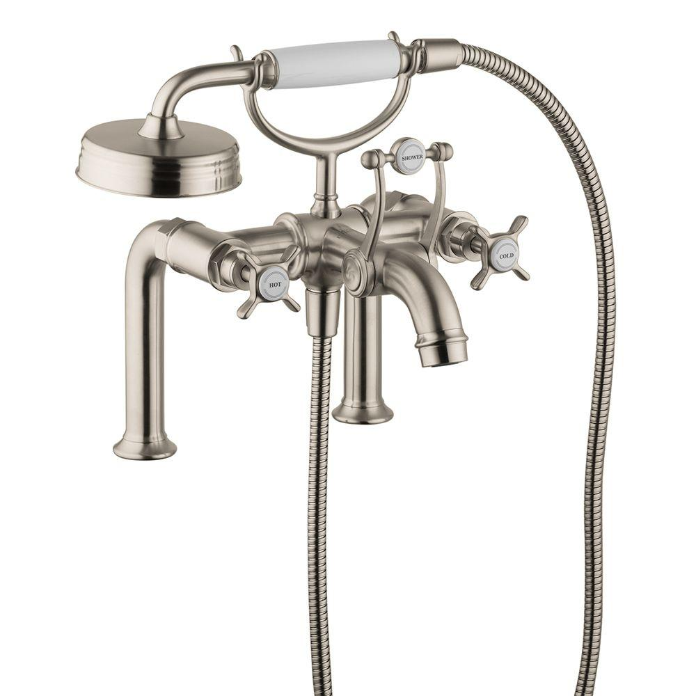 Hansgrohe Montreux Cross 2 Handle Deck Mount Roman Tub Faucet With  Handshower In Brushed Nickel 16542821   The Home Depot