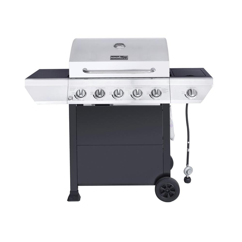 5-Burner Propane Gas Grill in Stainless Steel with Side Burner and