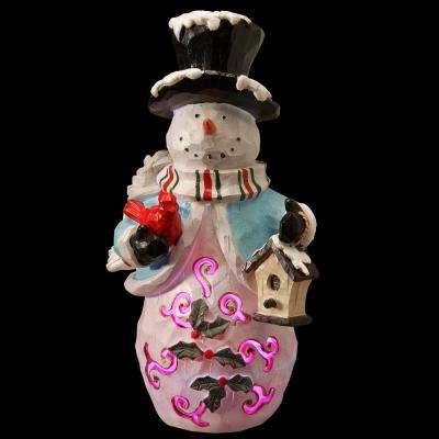 11 in. Snowman with LED Wearing Blue Clothes