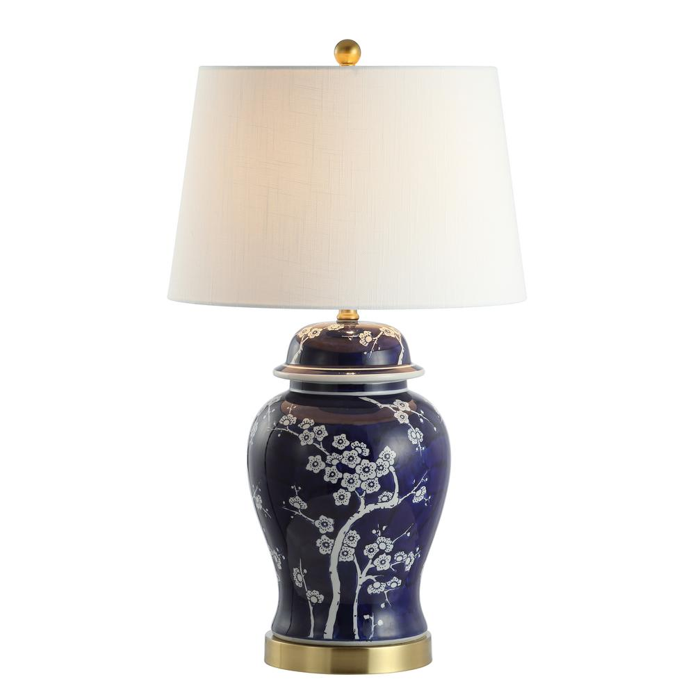 Jonathan Y Gracie 29 5 In Ginger Jar Ceramic Metal Led Table Lamp White Navy