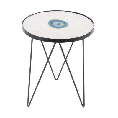 22 in. x 17 in. Modern Black Iron and Blue Agate Round Accent Table