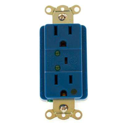Hospital Grade TVSS Surge Protection Duplex Receptacle with LED Indicator and Switched Alarm, Blue