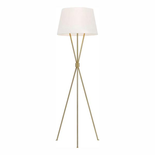 ED Ellen DeGeneres Crafted by Generation Lighting Penny 55.125 in. Burnished Brass Floor Lamp with White Linen Shade
