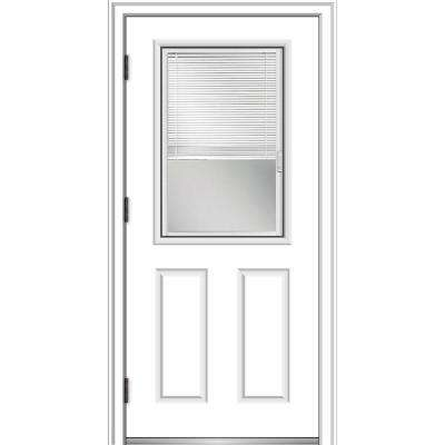32 in. x 80 in. Internal Blinds Right-Hand Outswing 1/2 Lite Clear Primed Steel Prehung Front Door with Brickmould
