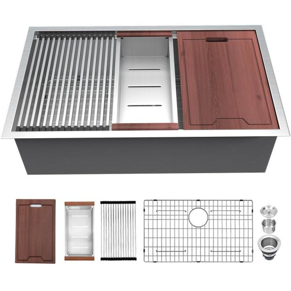 Matrix Decor Undermount Stainless Steel 28 In 16 Gauge Single Bowl Farmhouse Kitchen Sink With Accessories Lus2819a1 The Home Depot