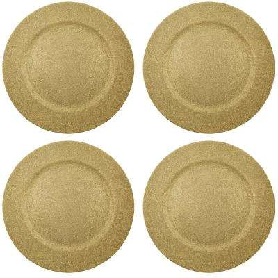 Home Essentials & Beyond 13 in. 4-Piece Twinkle Gold Plate Charger Set