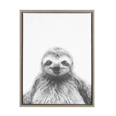 "24 in. x 18 in. ""Sloth"" by Tai Prints Framed Canvas Wall Art"