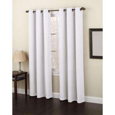 Semi-Opaque White No. 918 Casual Montego Woven Grommet Top Curtain Panel, 48 in. W x 95 in. L
