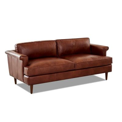 Malcolm 60 in. Chestnut Leather 2-Seater Lawson Sofa with Square Arms