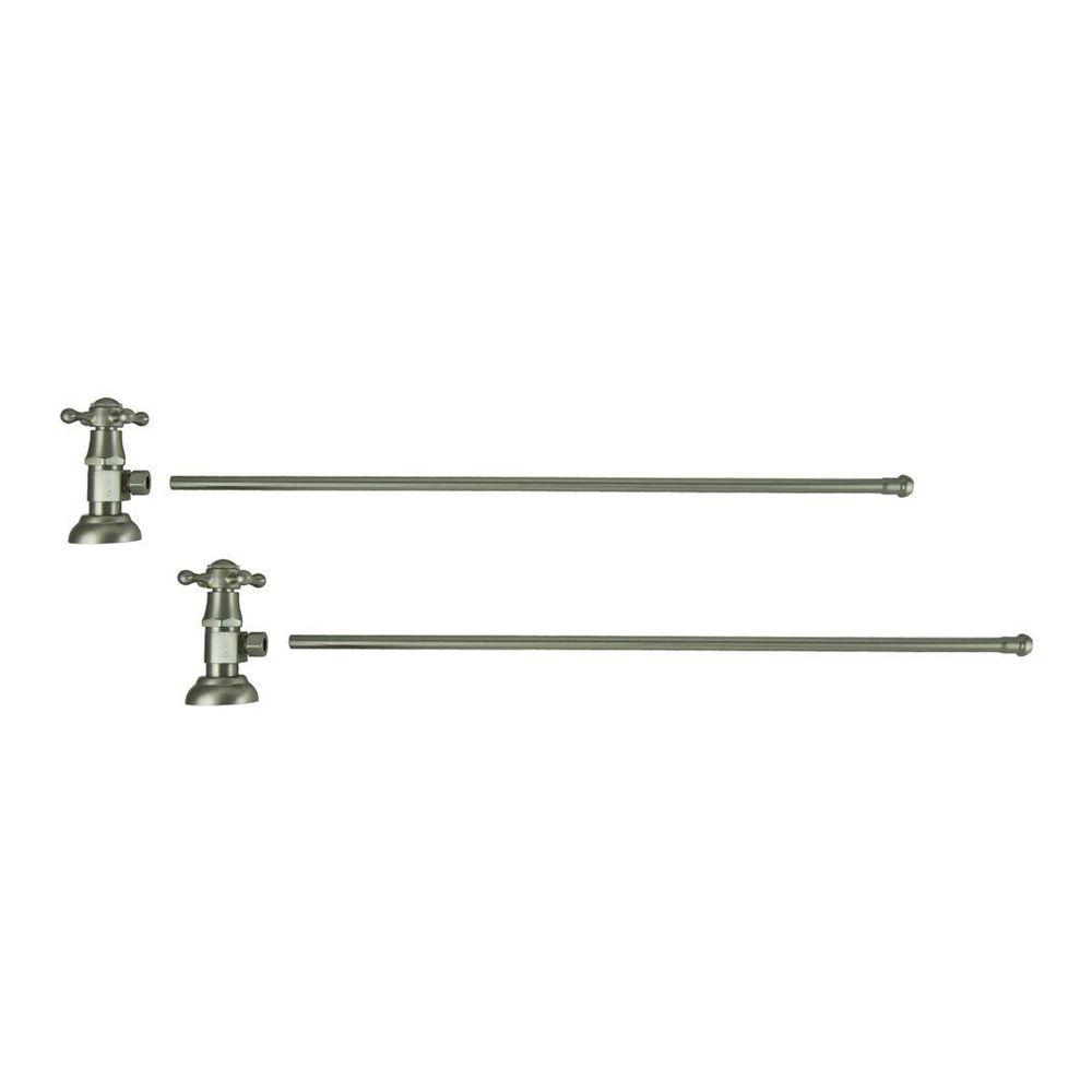 3/8 in. O.D x 20 in. Brass Rigid Lavatory Supply Lines with Cross Handle Shutoff Valves in Brushed Nickel Barclay provides all your essential bathroom needs. Enjoy the convenience of accessible water shut-off with these decorative lavatory supplies. Choose from 5 designer finishes. Color: Brushed Nickel.