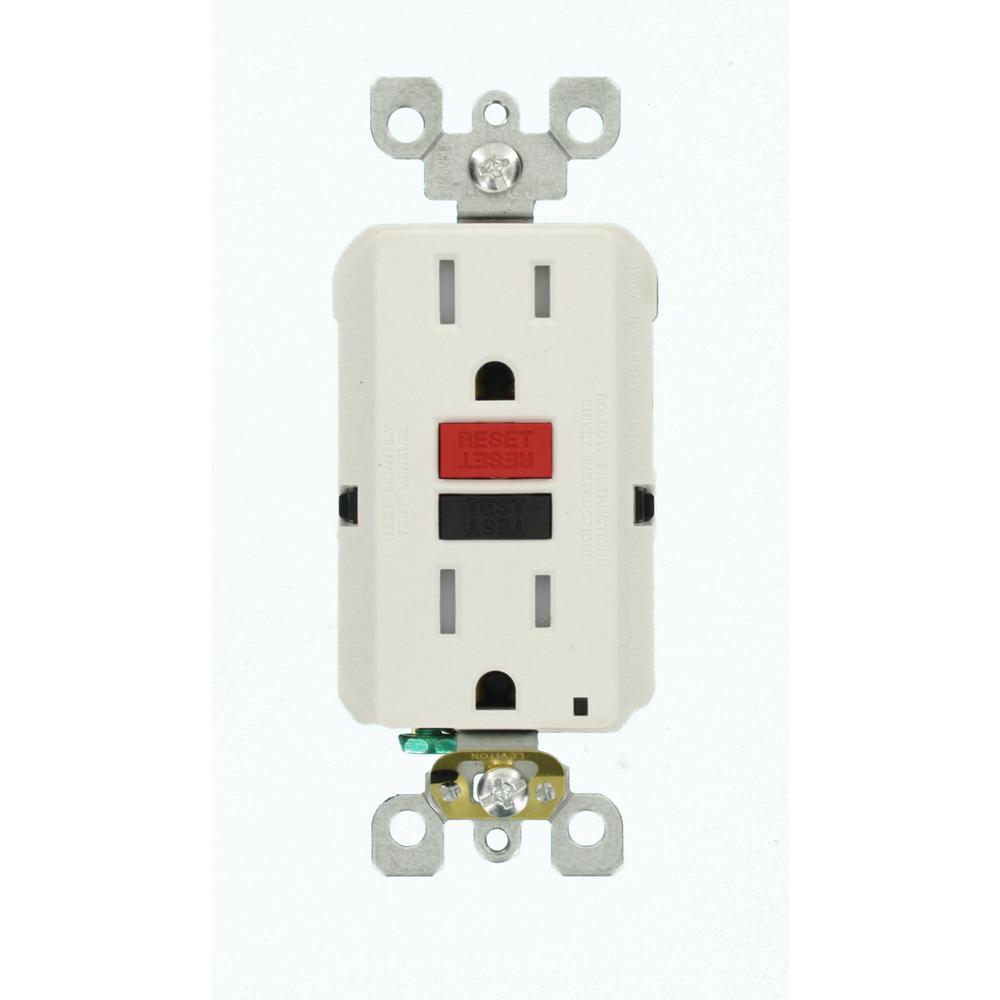 15 Amp 125-Volt Self-Test Tamper Resistant GFCI Outlet, White