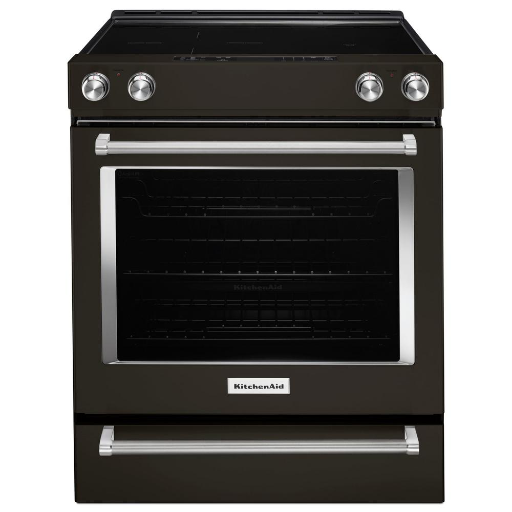 30 in. 6.4 cu. ft. Slide-In Electric Range in Black Stainless