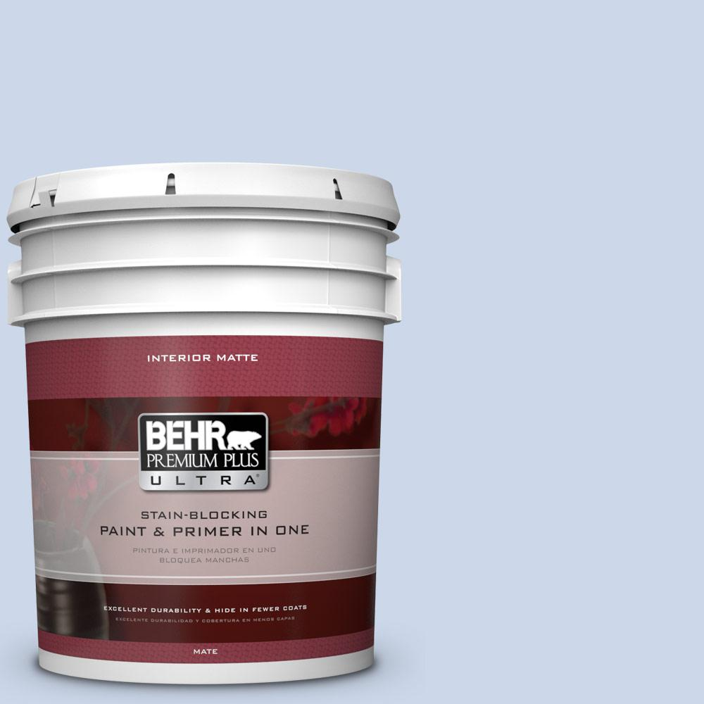 BEHR Premium Plus Ultra 5 gal. #610C-2 Calm Water Flat/Matte Interior Paint