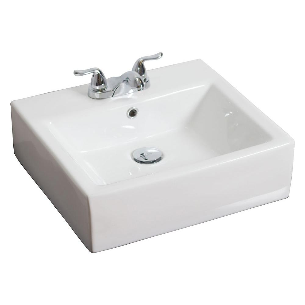 American Imaginations 20-in. W x 18-in. D Above Counter Rectangle Vessel Sink In White Color For 4-in. o.c. Faucet