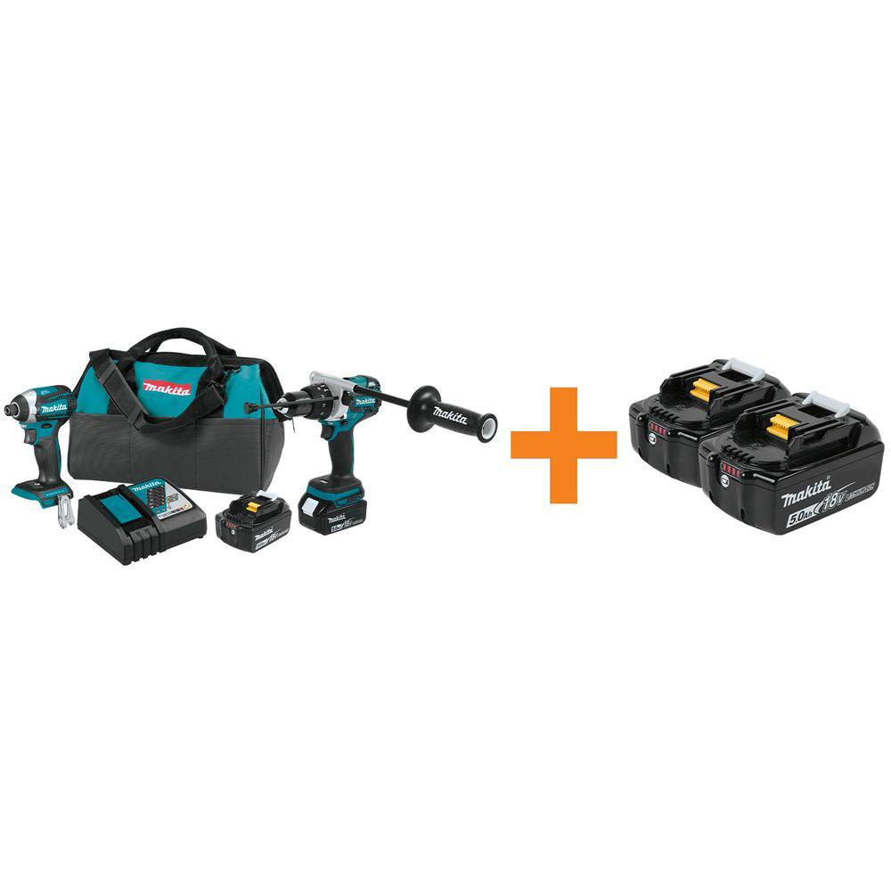 18-Volt LXT Lithium-Ion Brushless Cordless 2-Piece Combo Kit with Bonus 18-Volt 5.0 Ah LXT Lithium-Ion Battery (2-Pack)