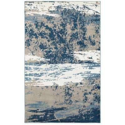 Matrix Light Beige/Soft Blue Rectangle 5 ft. 2 in. x 7 ft. 2 in. Indoor Area Rug
