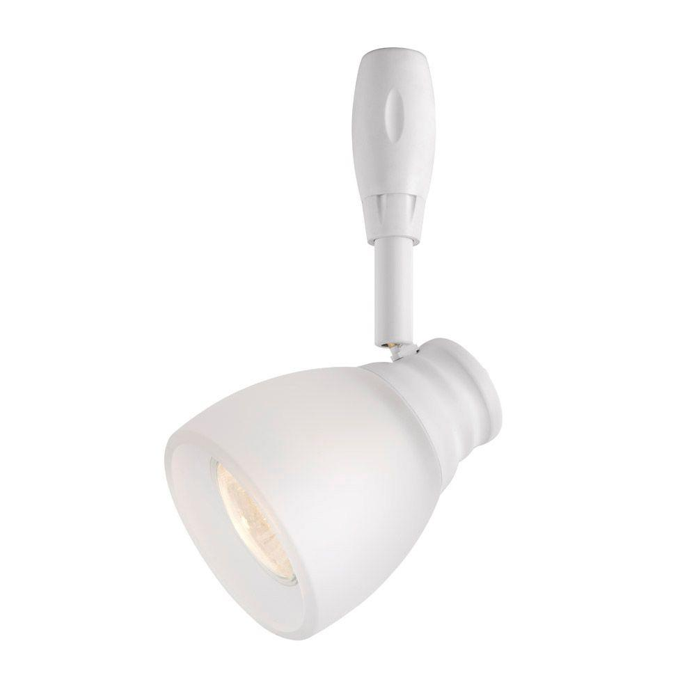 Hampton Bay White Flex Track Lighting Fixture With Frosted Glass Shade