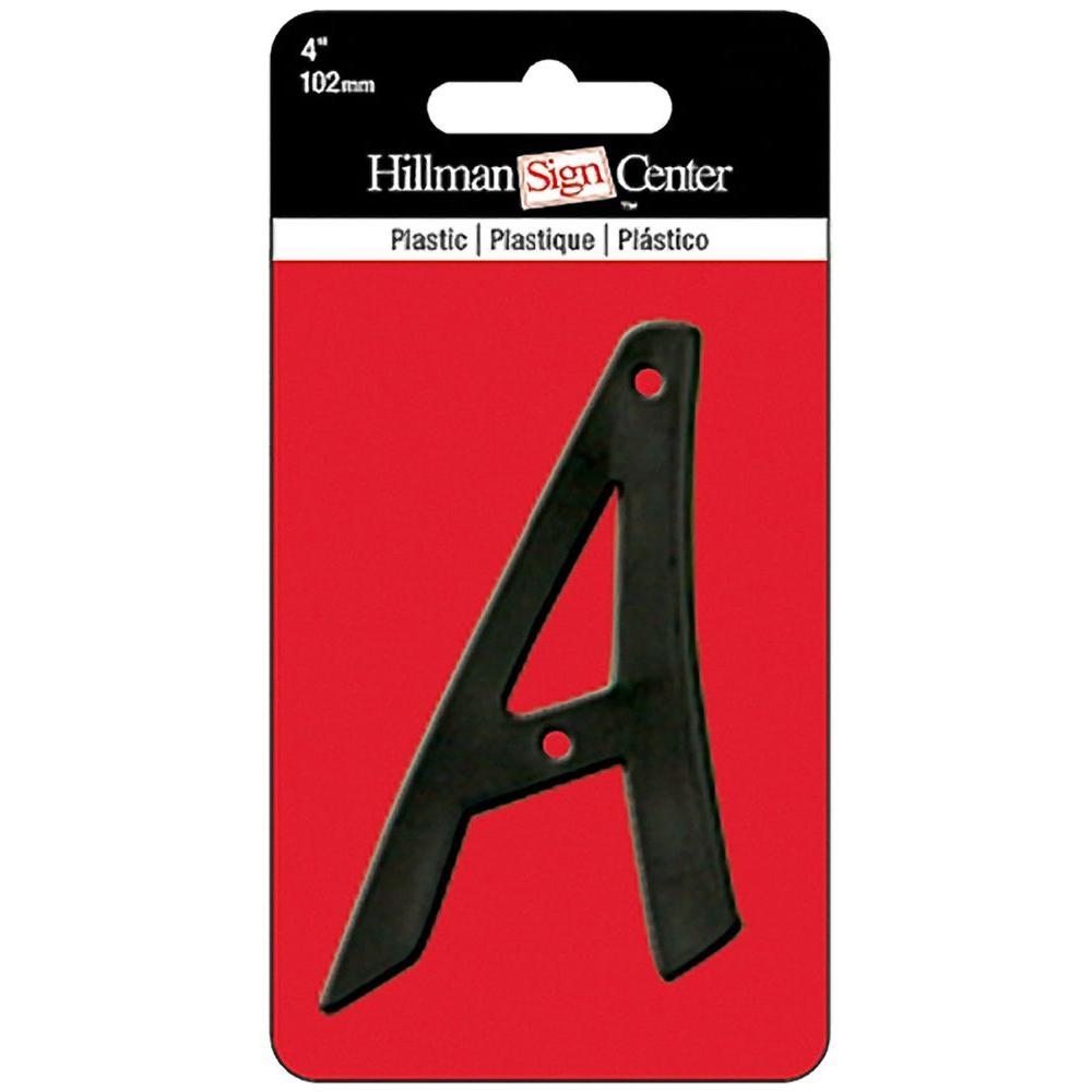 4 in. Black Plastic Letter A