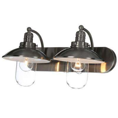 Downtown Edison 2-Light Brushed Nickel Bath Light