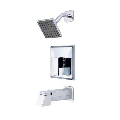 Mod 1-Handle Tub and Shower Trim Kit in Polished Chrome with 4 in. Square Showerhead (Valve Not Included)