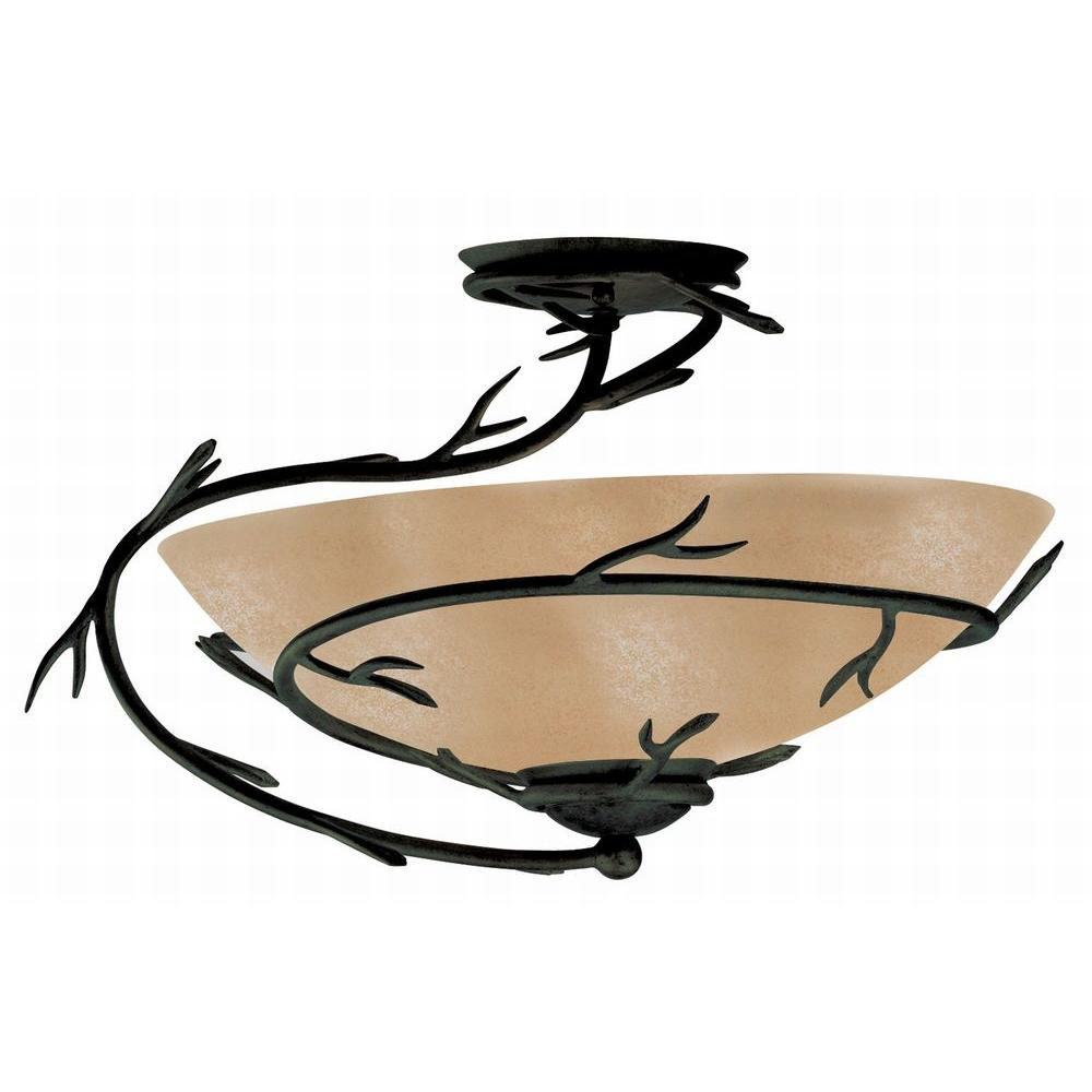 Twigs 1-Light Bronze Semi-Flush Mount Light