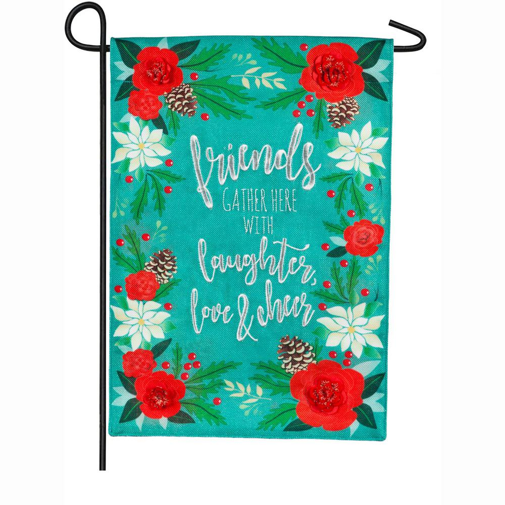 Evergreen 18 in. x 12.5 in. Laughter Love and Cheer Garden Burlap Flag