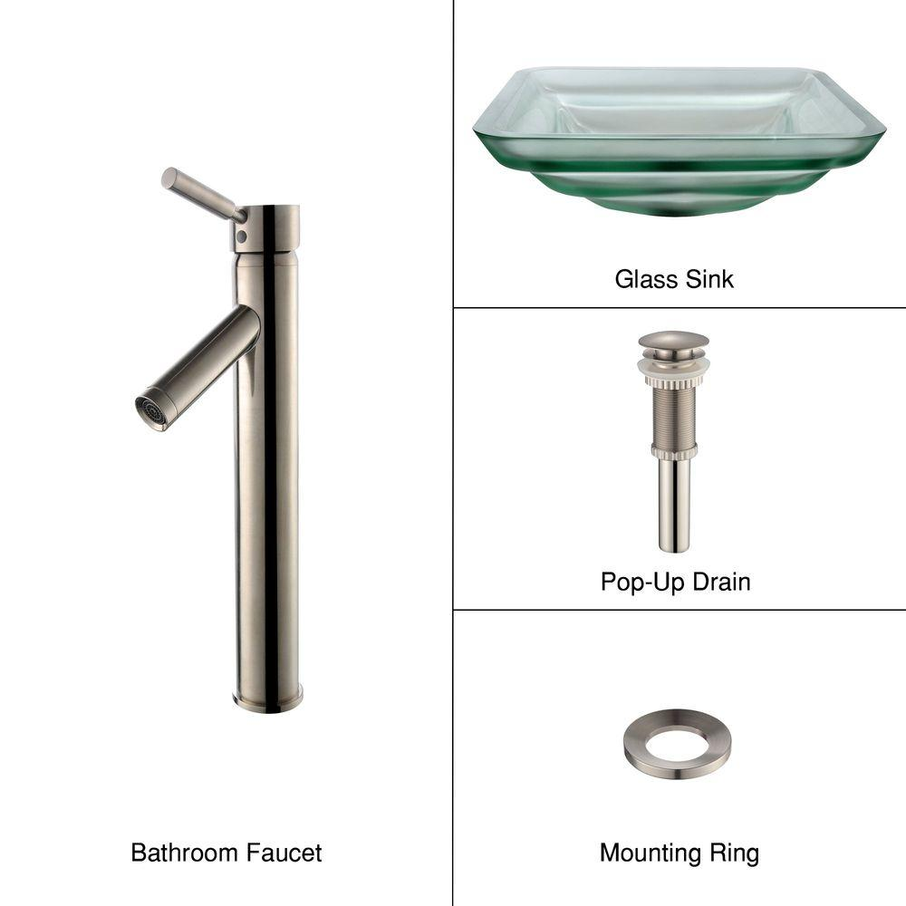 KRAUS Oceania Glass Bathroom Sink in Frosted with Single-Handle Low-Arc Sheven Faucet in Satin Nickel-DISCONTINUED