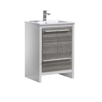 Allier Rio 24 in  Modern Bathroom Vanity in Ash Gray with Ceramic Vanity  Top in White