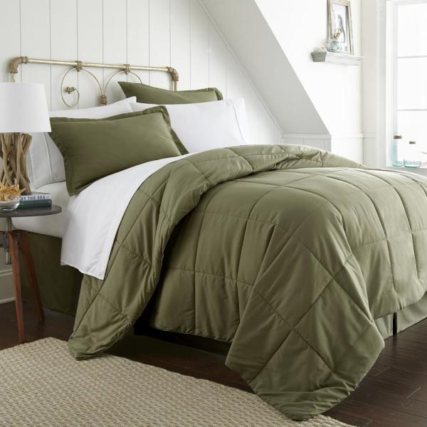 Becky Cameron Bed In A Bag Performance Sage Twin 8 Piece Bedding Set