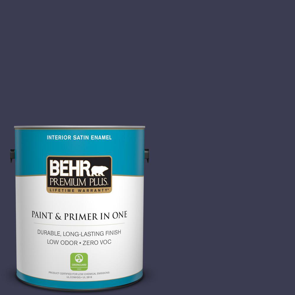 1 gal. #HDC-WR16-03 Blueberry Tart Zero VOC Satin Enamel Interior Paint