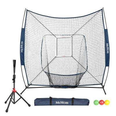 7 ft. x 7 ft. Baseball/Softball Hitting Net in Navy with Strike Zone, 3-Pack Weighted Training Ball and Tee