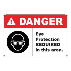 Click here to buy  Rectangular Plastic Danger Eye Protection Required Safety Sign.