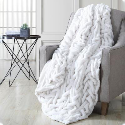 Luxury Solid Braided Faux Fur Throw Off White