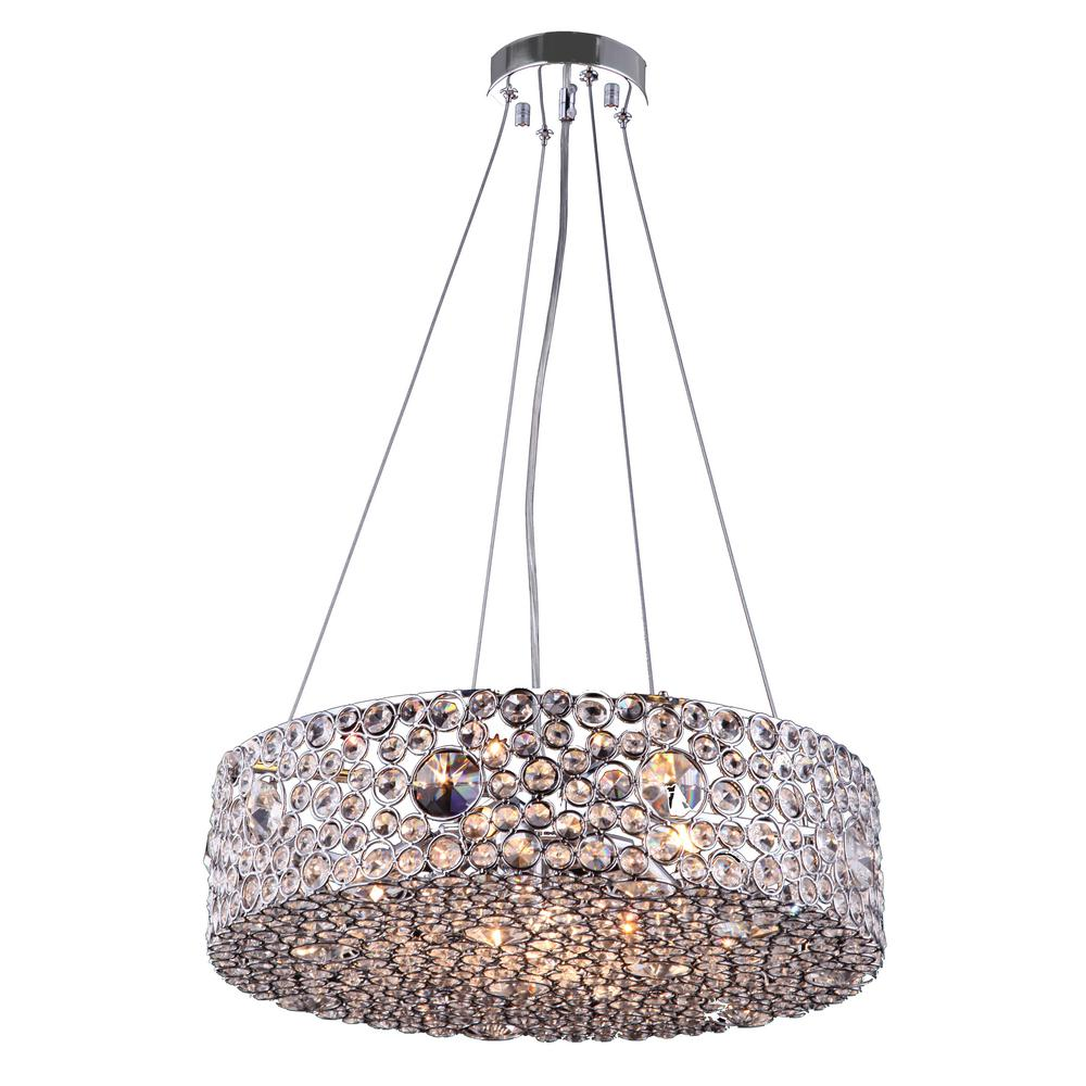 Aurora lighting 6 light chrome chandelier with chrome metal shade aurora lighting 6 light chrome chandelier with chrome metal shade arubaitofo Image collections