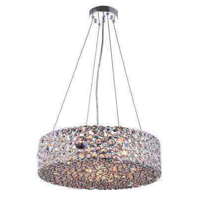 6-Light Chrome Chandelier with Chrome Metal Shade