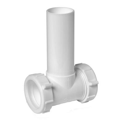 1-1/2 in. White Plastic Sink Drain Center Outlet Waste Slip-Joint Tee
