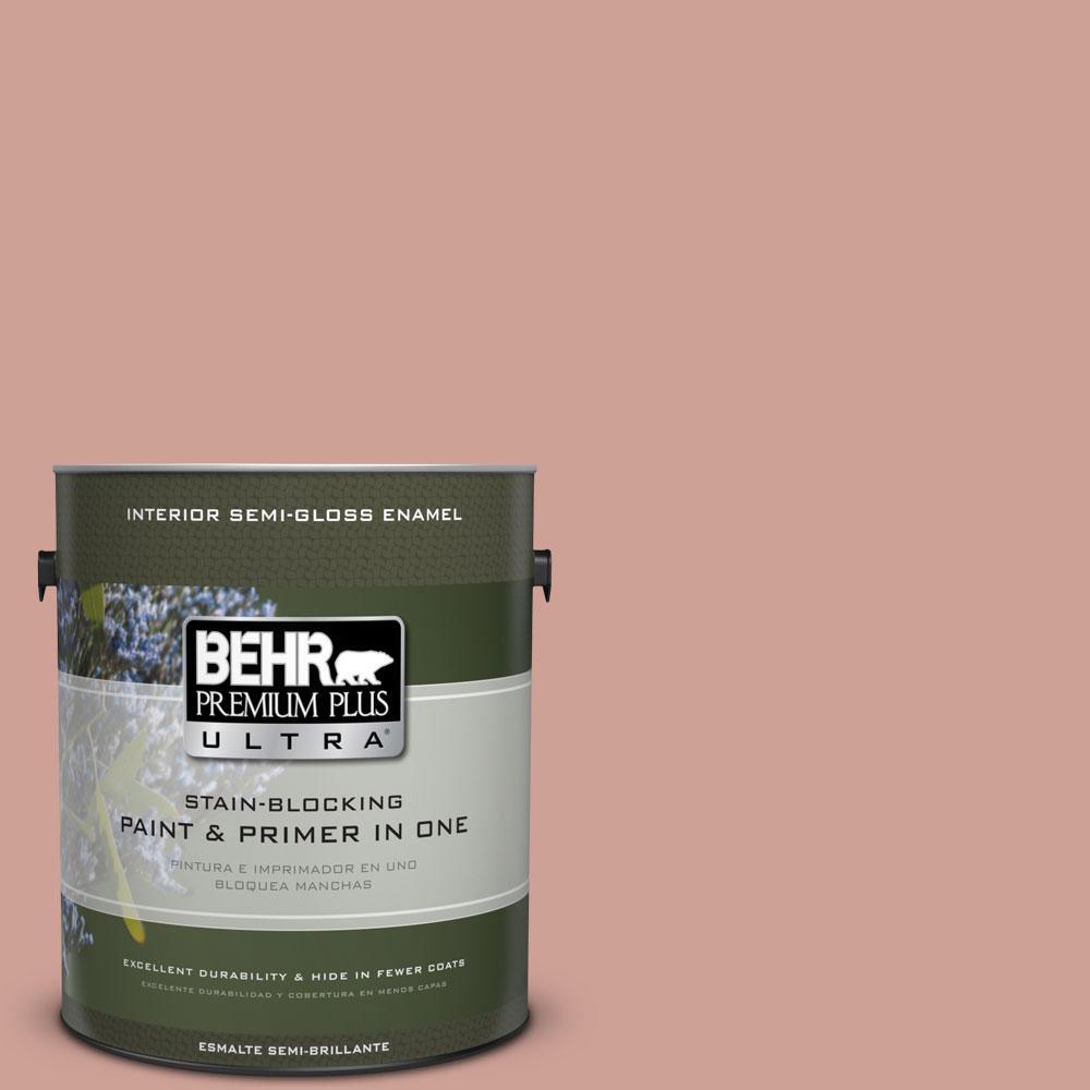BEHR Premium Plus Ultra 1-gal. #220F-4 Sombrero Tan Semi-Gloss Enamel Interior Paint