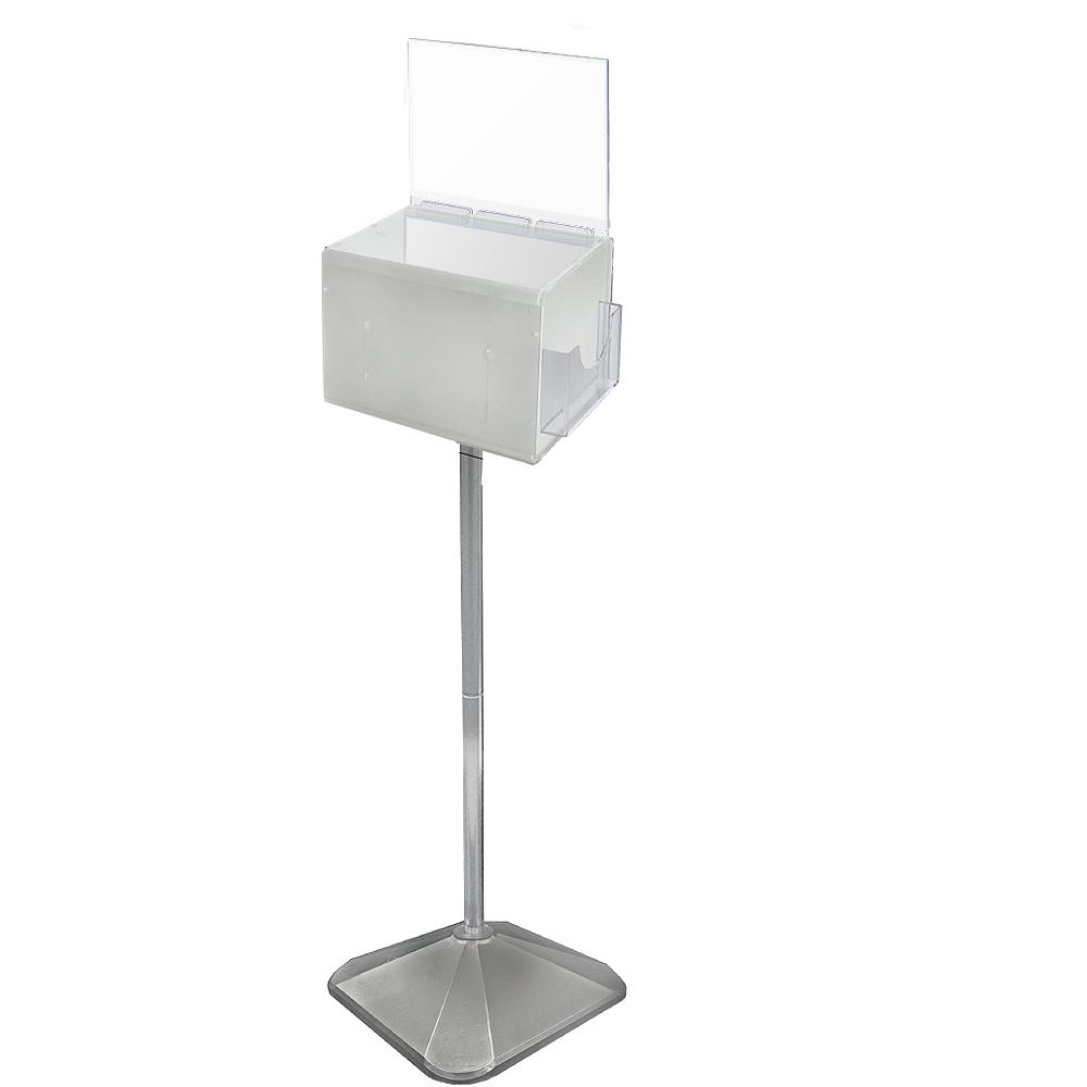 Extra-Large Acrylic Suggestion Box with Lock and Keys on Pedestal, White