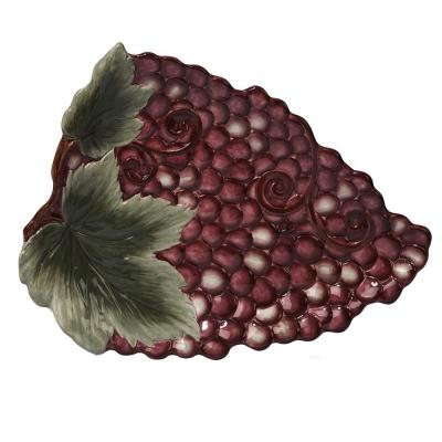 Gilded Wine Purple Ceramic 16 in. 3-D Grape Platter