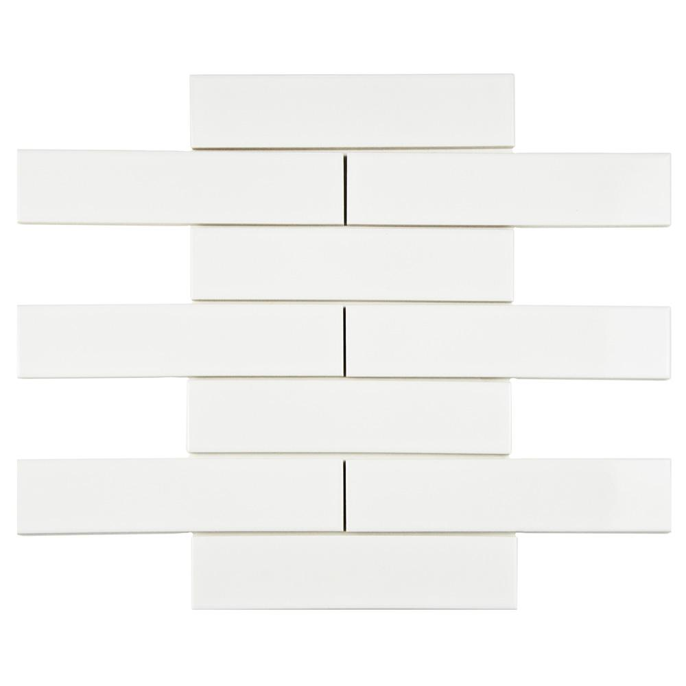 Merola Tile Metro Soho Subway Glossy White 1-3/4 in. x 7-3/4 in. Porcelain Floor and Wall Tile (1 sq. ft. / pack)