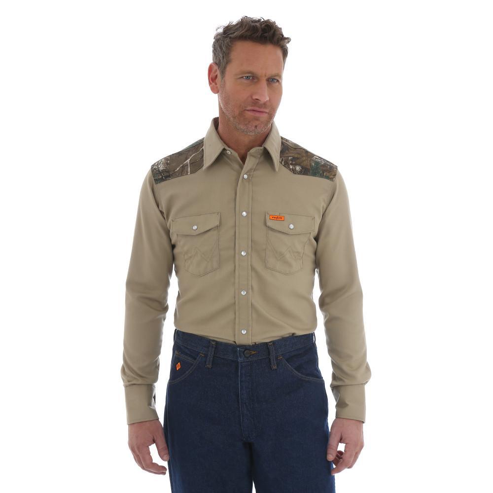 Men's Size Extra-Large Khaki Realtree Xtra Western Shirt