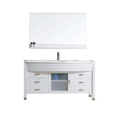 Ava 55 in. W Bath Vanity in White with Stone Vanity Top in White with Round Basin and Mirror and Faucet