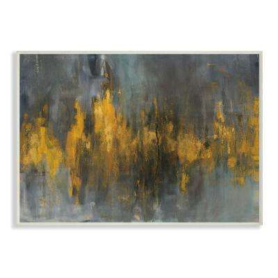 "12.5 in. x 18.5 in. ""Black and Gold Abstract Fire"" by Danhui Nai Printed Wood Wall Art"