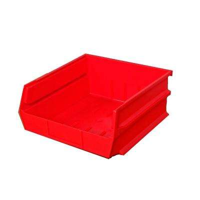 LocBin 2.13-Gal. Stacking, Hanging, Interlocking Polypropylene Storge Bins in Red (6-Pack)