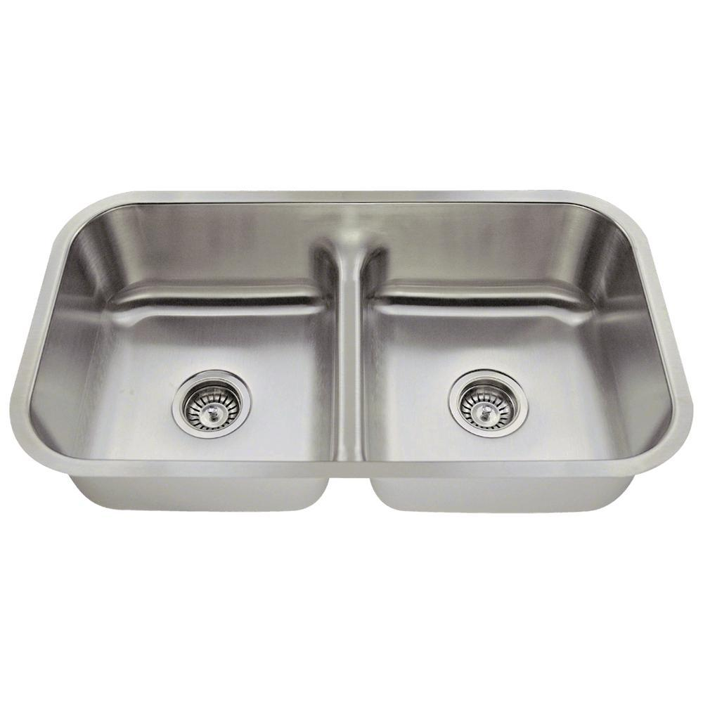 Undermount Stainless Steel 33 in. Double Bowl Kitchen Sin...