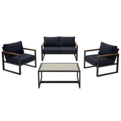 West Park 4-Piece Black Aluminum Outdoor Patio Conversation Set with CushionGuard Midnight Navy Blue Cushions