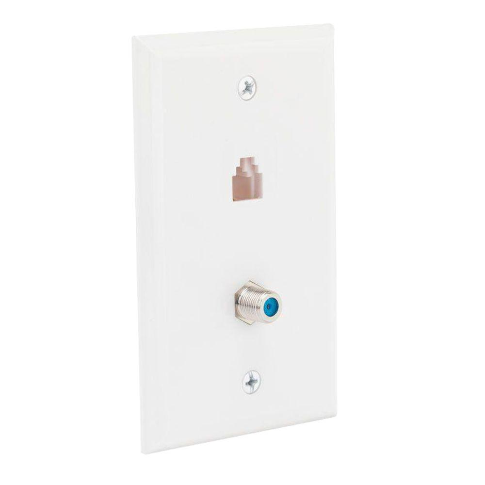 Telephone/Coaxial Wall Plate, White