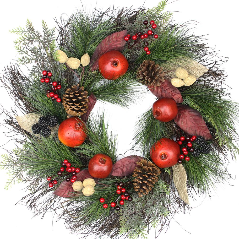 Northlight 24 in. Unlit Autumn Harvest Mixed Pine Berry and Nut Thanksgiving Fall Wreath